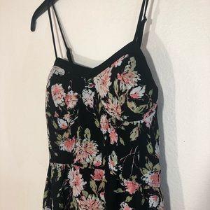 Xhilaration floral maxi w/adj straps & pockets, S